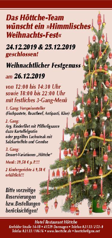 Weihnachten 2019 im Hotel Höttche, Dormagen
